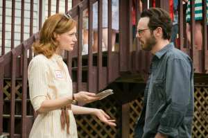 Kerry Bishe as Donna Clark and Scoot McNairy as Gordon Clark.