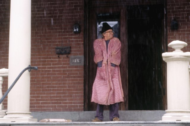 Michael Douglas in Wonder Boys - a stereotypical, dressing gown clad, pot smoking writer.