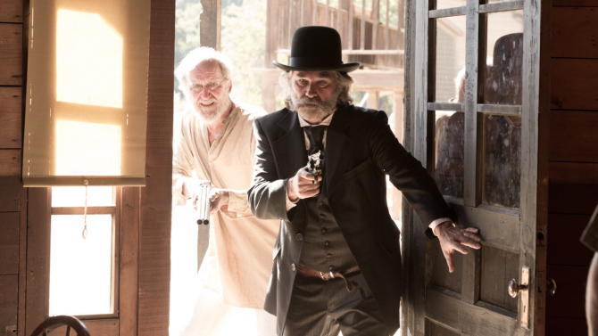 Kurt Russell and Richard Jenkins in Bone Tomahawk.